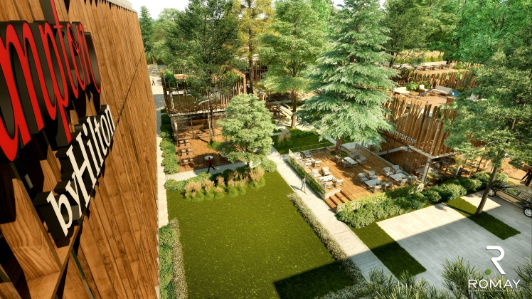 Hampton by Hilton BA Parque Leloir Plaza comercial _render_2